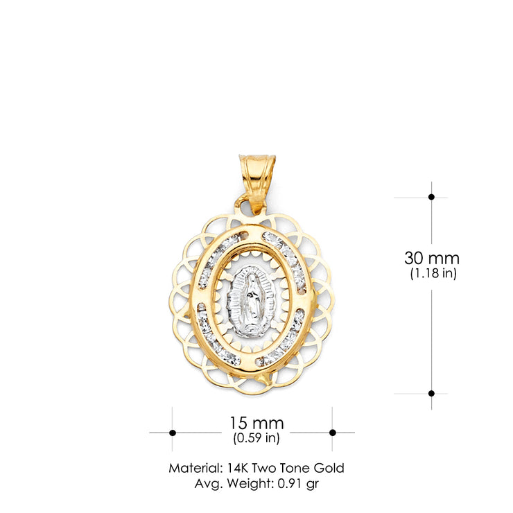 14K Gold Guadalupe CZ Religious Pendant