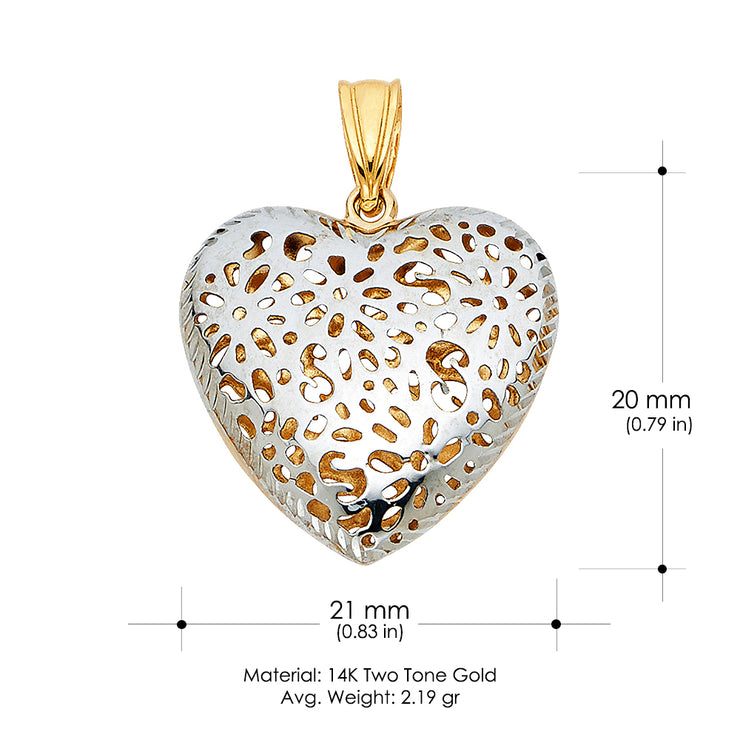 14K Gold Flower Heart Charm Pendant
