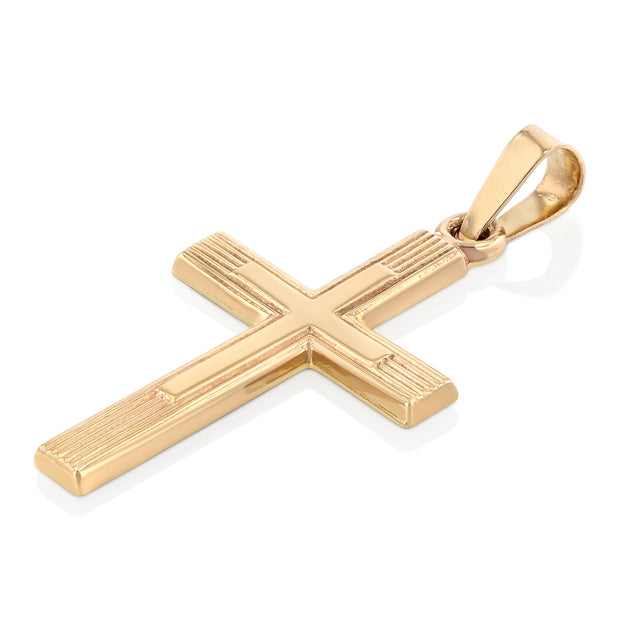 14K Gold Cross Charm Pendant with 1.5mm Flat Open Wheat Chain Necklace