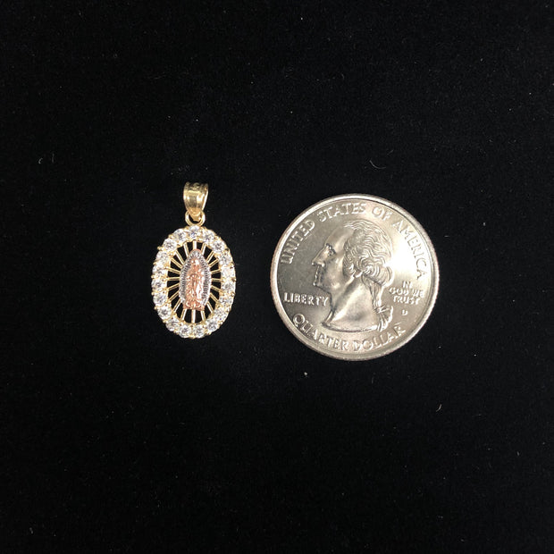 14K Gold CZ Religious Guadalupe Charm Pendant
