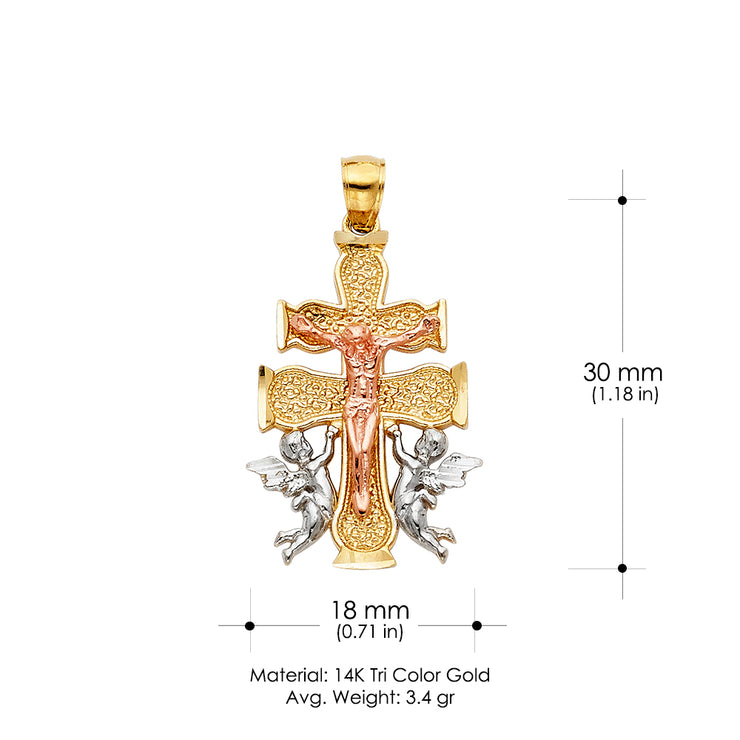 14K Gold Religious Cross of Caravaca Charm Pendant