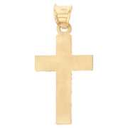 14K Gold Religious Cross Stamp Charm Pendant