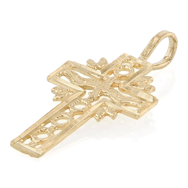 14K Gold Religious Cross and Holy Spirit Charm Pendant