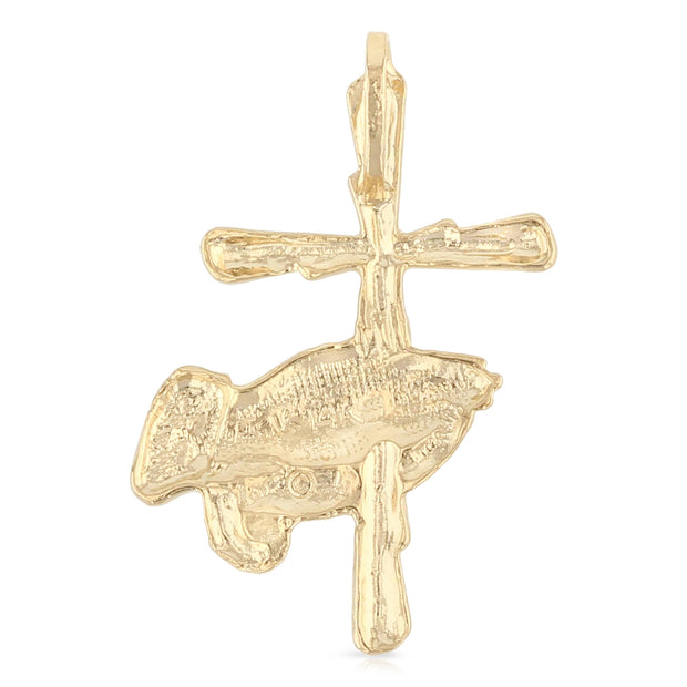 14K Gold Religious Praying Hand with Cross Charm Pendant