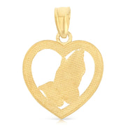 14K Gold Religious Praying Hands in Heart Charm Pendant