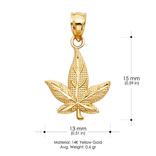 14K Gold Marijuana Leaf Charm Pendant with 1.7mm Flat Open Wheat Chain Necklace