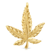 14K Gold Marijuana Leaf Charm Pendant with 1.2mm Singapore Chain Necklace
