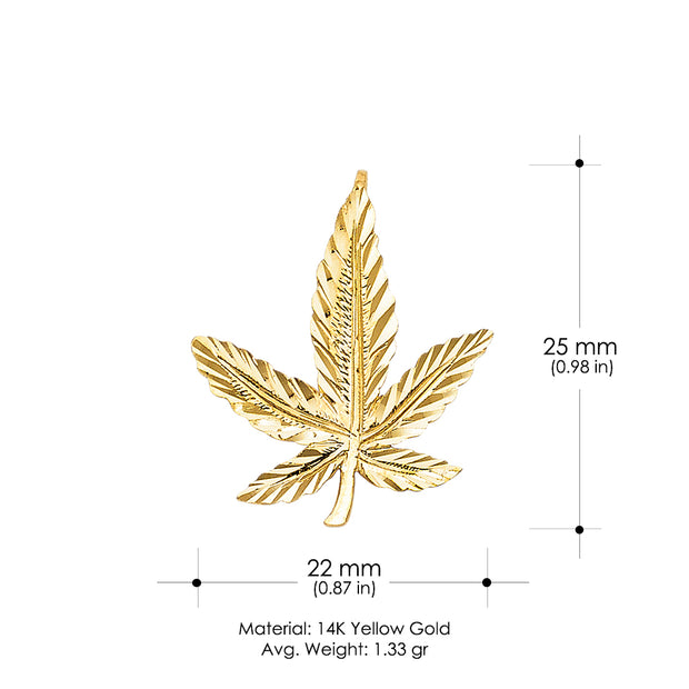 14K Gold Marijuana Leaf Charm Pendant with 1.2mm Box Chain Necklace