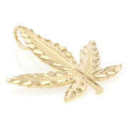 14K Gold Marijuana Leaf Charm Pendant with 1.5mm Flat Open Wheat Chain Necklace