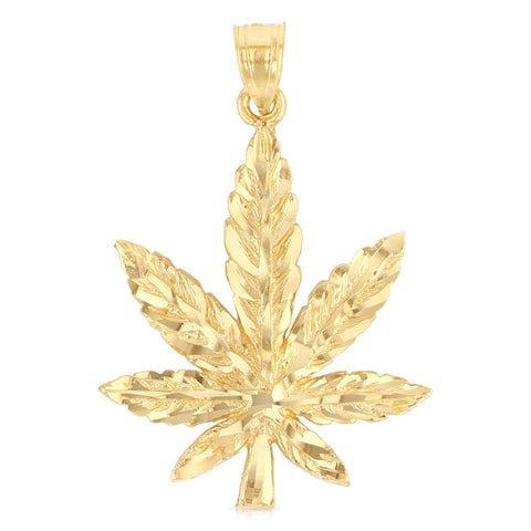 14K Yellow Gold Marijuana Leaf Charm Pendant