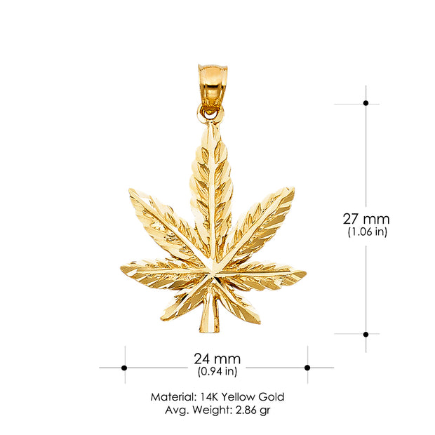 14K Gold Marijuana Leaf Charm Pendant with 2mm Flat Open Wheat Chain Necklace