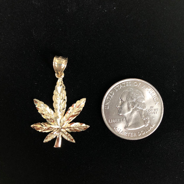 14K Gold Marijuana Leaf Charm Pendant with 3.8mm Figaro 3+1 Chain Necklace