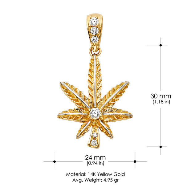 14K Gold CZ Marijuana Leaf Charm Pendant with 3.8mm Figaro 3+1 Chain Necklace