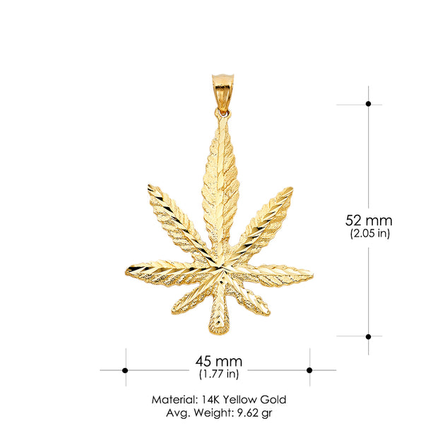 14K Gold Marijuana Leaf Charm Pendant with 1.8mm Singapore Chain Necklace