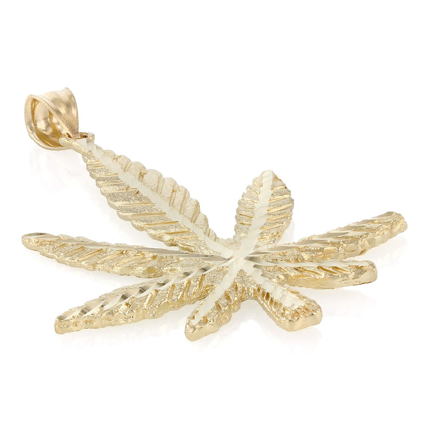 14K Gold Marijuana Leaf Charm Pendant with 4.5mm Figaro 3+1 Chain Necklace