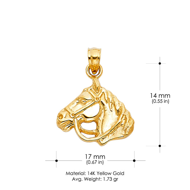 14K Gold Horse Charm Pendant with 0.8mm Box Chain Necklace