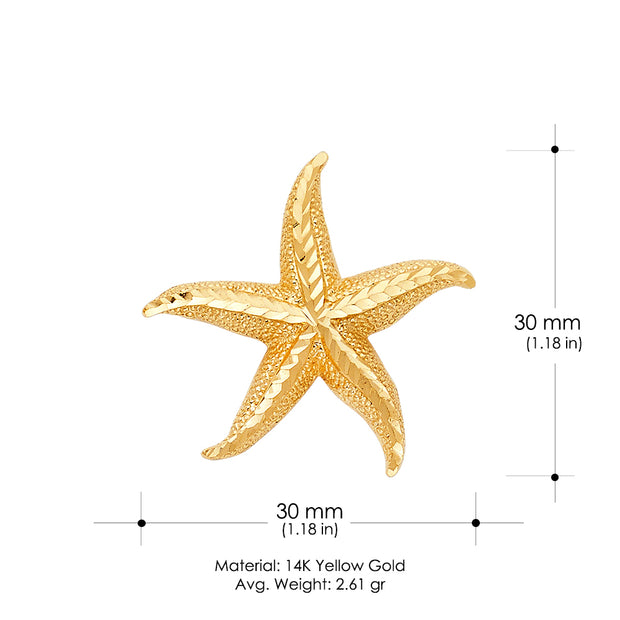 14K Gold Starfish Charm Pendant with 1.7mm Flat Open Wheat Chain Necklace