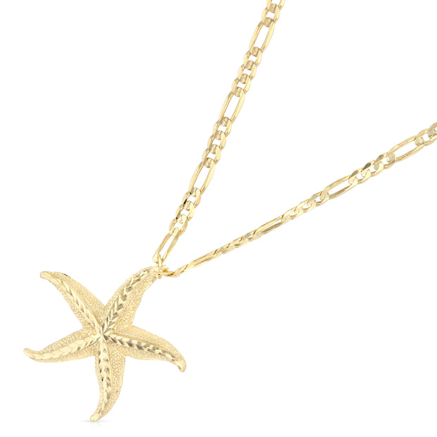 14K Gold Starfish Charm Pendant with 3.1mm Figaro 3+1 Chain Necklace