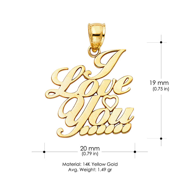 14K Gold I Love You Heart Charm Pendant with 1.2mm Box Chain Necklace