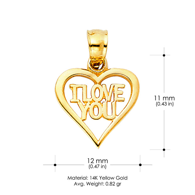 14K Gold I Love You Heart Charm Pendant with 0.6mm Box Chain Necklace