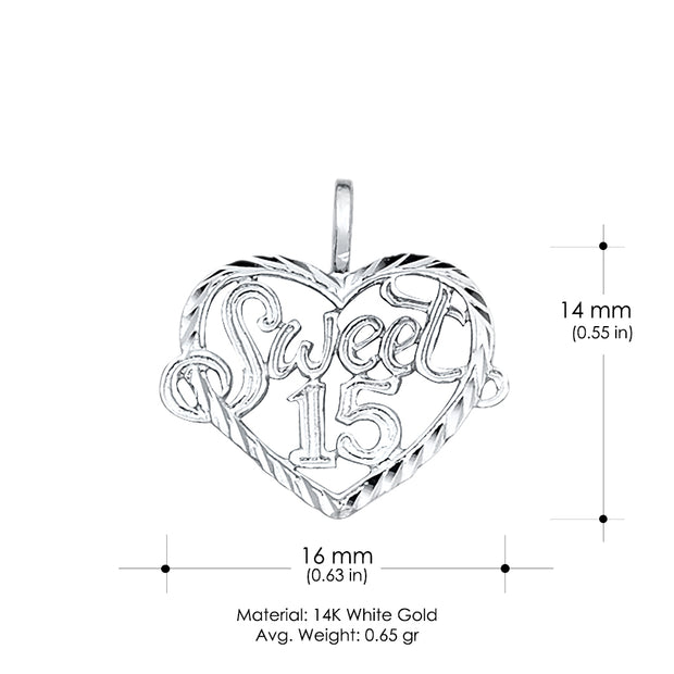14K Gold 15 Years Quinceanera Heart Charm Pendant with 1mm Box Chain Necklace