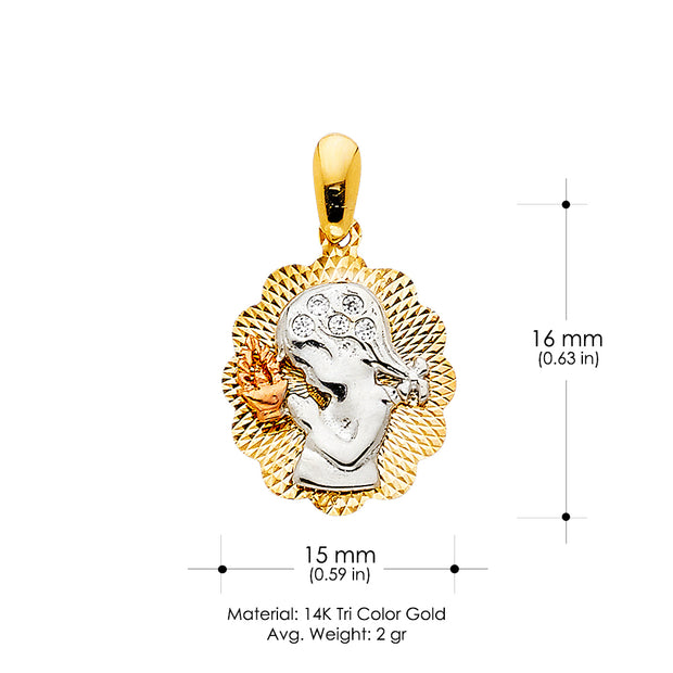 14K Gold CZ Religious Praying Girl Charm Pendant