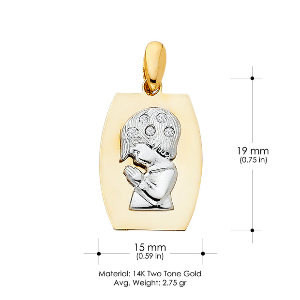 14K Gold CZ Religious Praying Boy Charm Pendant