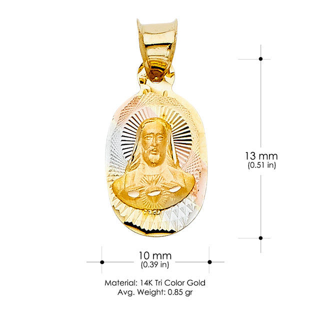 14K Gold Religious Jesus with Heart Stamp Charm Pendant
