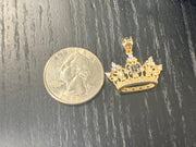 14K Gold Quinceanera Crown CZ Charm Pendant