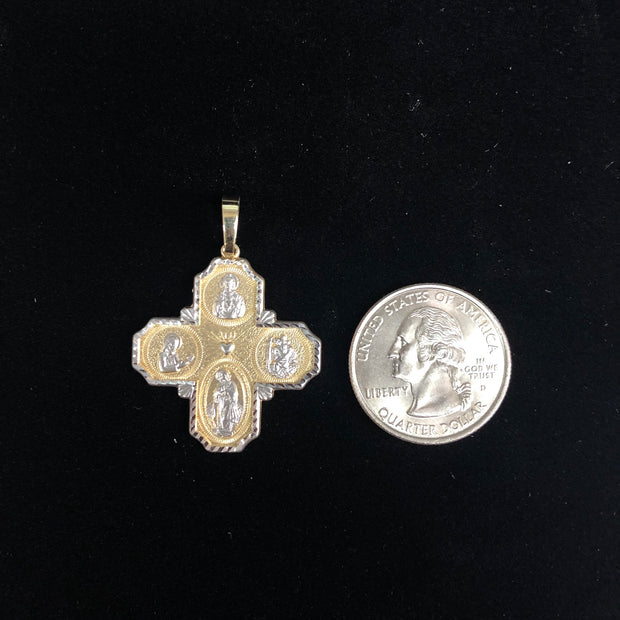 14K Gold JFour-Way Cross Religious Pendant