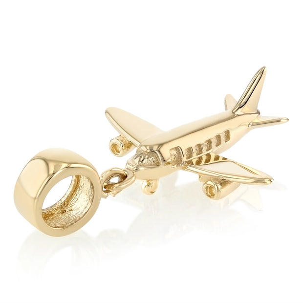 14K Gold Air Plane Mix & Match Charm Pendant