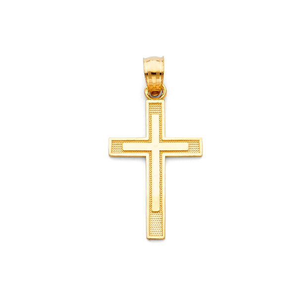 14K Gold Cross Religious Charm Pendant with 0.8mm Box Chain Necklace