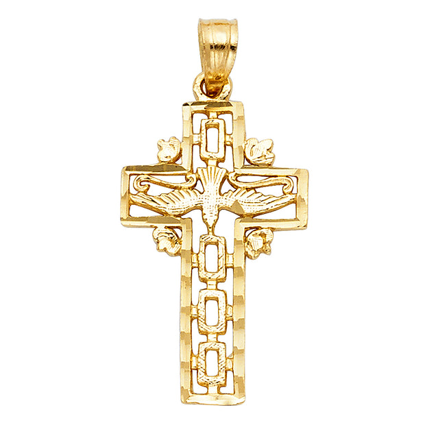 14K Gold Cross with Holy Spirit Dove Charm Pendant with 0.9mm Wheat Chain Necklace