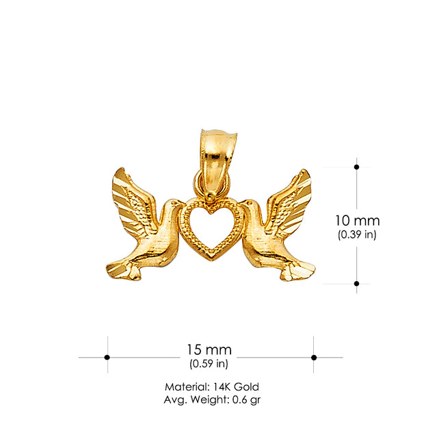 14K Gold Religious Cross with Holy Spirit Dove Charm Pendant