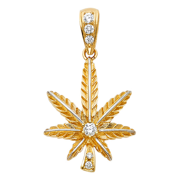 14K Gold CZ Marijuana Leaf Charm Pendant with 1.2mm Box Chain Necklace