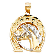 14K Gold Lucky Horseshoe Charm Pendant with 1.2mm Box Chain Necklace