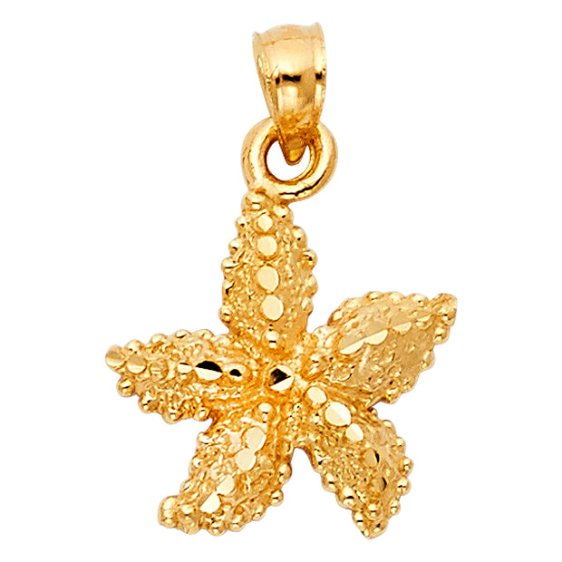 14K Gold Starfish Charm Pendant with 1.5mm Flat Open Wheat Chain Necklace