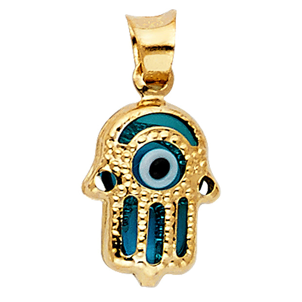 14K Gold Evil Eye Hamsa Charm Pendant with 0.9mm Singapore Chain Necklace