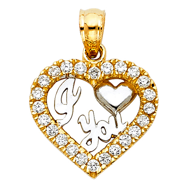 14K Gold CZ I Love You Heart Charm Pendant with 0.8mm Box Chain Necklace