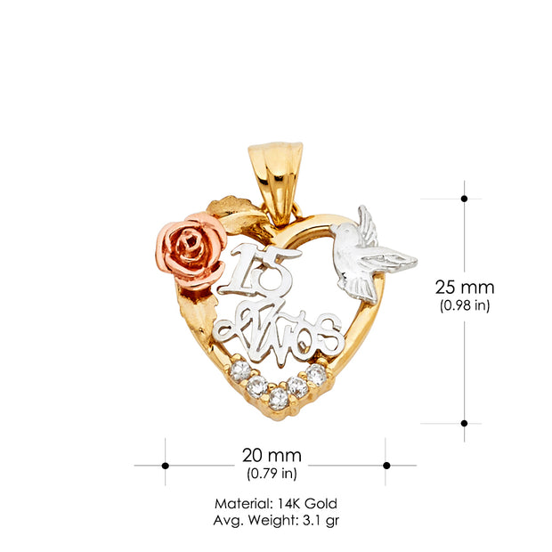 14K Gold Quinceanera Heart Dove and Flower CZ Charm Pendant
