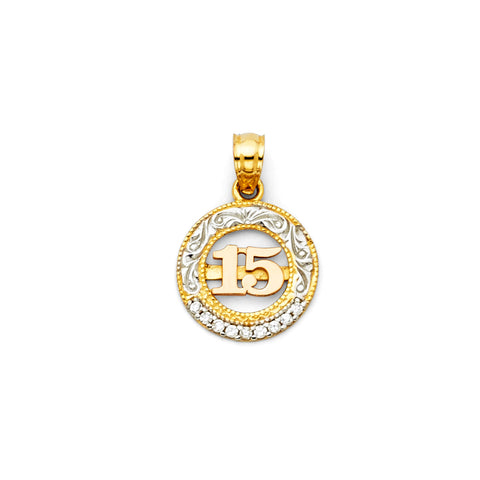 14K Gold 15 Years Quinceanera CZ Charm Pendant