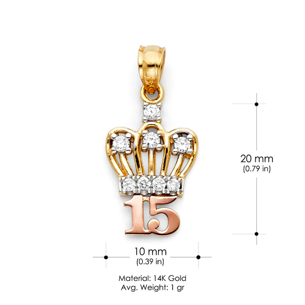 14K Gold 15 Years Quinceanera Crown CZ Charm Pendant