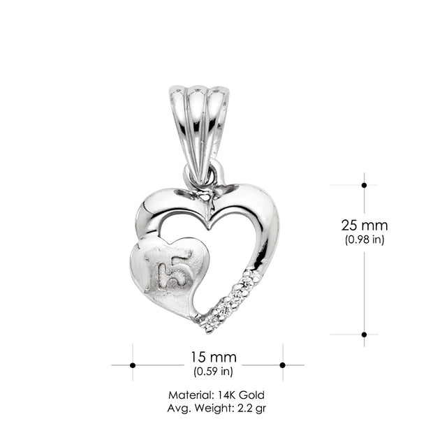14K Gold 15 Years Quinceanera Double Heart CZ Charm Pendant