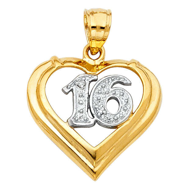 14K Gold 16 Years Heart Charm Pendant with 0.8mm Box Chain Necklace