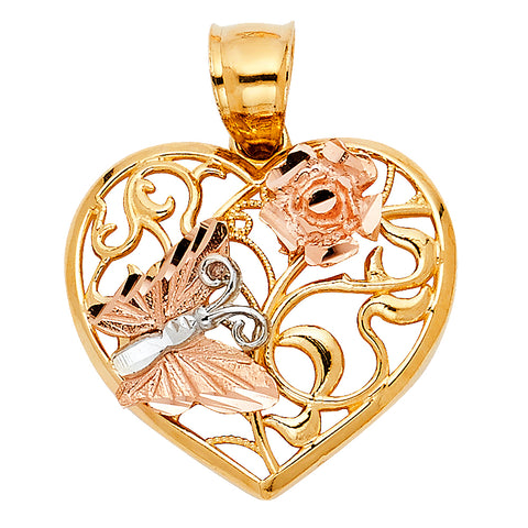 14K Gold Heart with Butterfly Charm Pendant