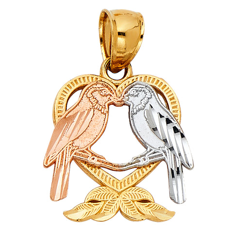 14K Gold Heart with Bird Charm Pendant