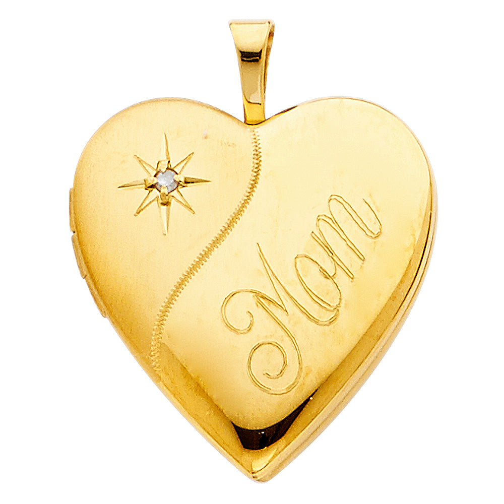 174d4a30bfe 14K Yellow Gold Heart Locket Charm Pendant For Necklace or Chain ...