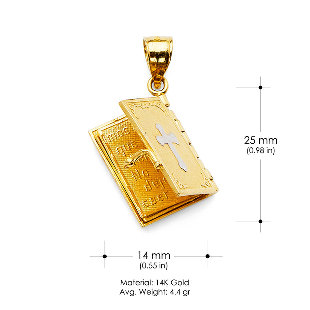 14K Gold Bible Book with Cross Religious Pendant