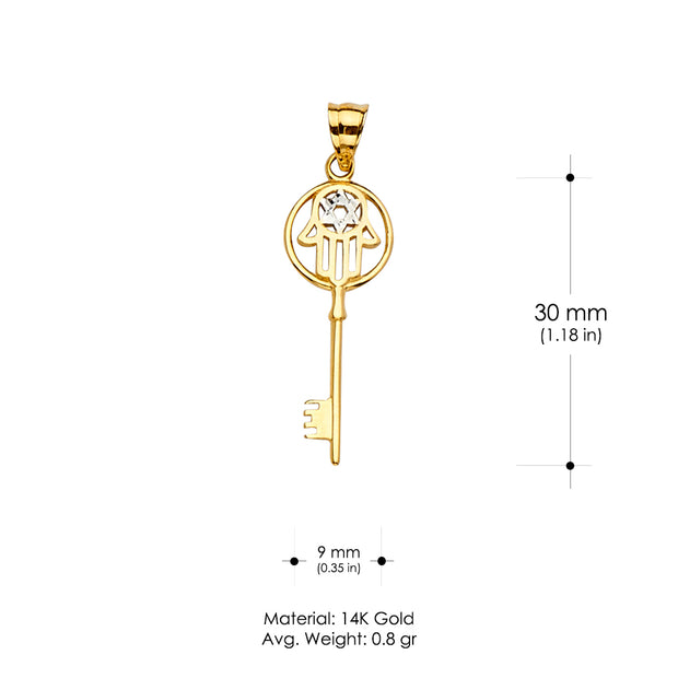 14K Gold Hamsa with Key and Star Charm Pendant