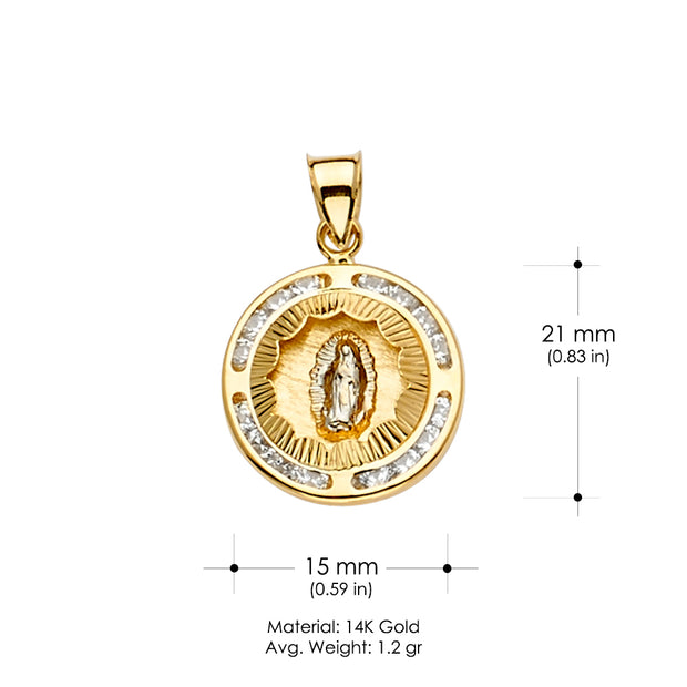 14K Gold CZ Guadalupe Medal Religious Pendant